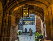 A secluded courtyard off a street beside the cathedral in Coventry, UK royalty free stock image