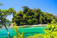 View on secluded islet with white sand and turquoise water - Blue lagoon in Portland, Jamaica stock images