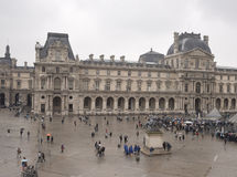 View from the second floor of the Louvre to the rainy Place du Stock Photography