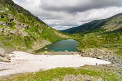 View on Second Lake of Karakol lakes in Altai Republic. Russia Stock Photography