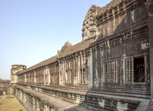 View of Second wall, Angkor Wat, Siem Riep, Cambodia. The lake in front of the Angkor Wat where tourist commonly stand here to take picture of the setting sun Stock Photography