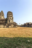View of Second wall, Angkor Wat, Siem Riep, Cambodia. The lake in front of the Angkor Wat where tourist commonly stand here to take picture of the setting sun Royalty Free Stock Image