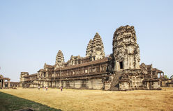 View of Second wall, Angkor Wat, Siem Riep, Cambodia. The lake in front of the Angkor Wat where tourist commonly stand here to take picture of the setting sun Stock Images