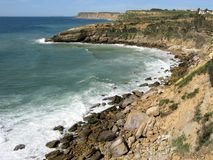 Coastal scenery on the Algarve, Portugal. View of a section of coast on the Algarve with bays, headlands and rocky shore, Portugal royalty free stock images