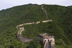 View of a section of the Great Wall of China and the surrounding mountains in Mutianyu. China stock image