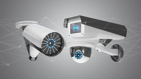Security camera system and network connection - 3d rendering. View of a Security camera system and network connection - 3d rendering Stock Images