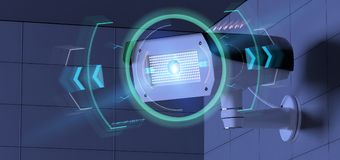 Security camera targeting a detected intrusion - 3d renderinga Stock Photos