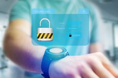 Security login window displayed on a futuristic interface - Conn Royalty Free Stock Image
