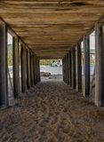Security tunnel, for pedestrian crossing. View security tunnel, for pedestrian crossing on the beach Stock Photos