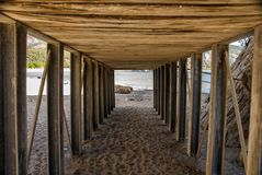Security tunnel, for pedestrian crossing. View security tunnel, for pedestrian crossing on the beach Stock Photography