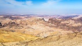 View of sedimentary mountains around Wadi Araba Royalty Free Stock Image