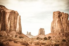 A landscape photo of the rock formations at Sedona Monument Valley. The view of the Sedona Monument Valley in Death Valley Arizona. There is a sense of adventure royalty free stock images