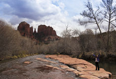 A View of Sedona's Famous Cathedral Rock Royalty Free Stock Photography