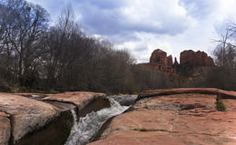 A View of Sedona's Oak Creek and Cathedral Rock Stock Photo