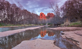 A View of Sedona's Oak Creek and Cathedral Rock Royalty Free Stock Image