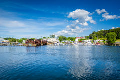 View of the Seekonk River, in Providence, Rhode Island. royalty free stock photo