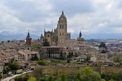 A view of the Segovia Cathedral, the historic part of the town, royalty free stock image