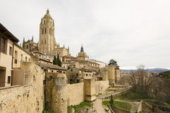 Segovia. View of Segovia Cathedral and surrounding landscape Royalty Free Stock Photo