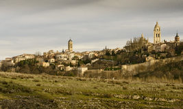 Skyline of Segovia, Spain. View of Segovia Cathedral and surrounding landscape Stock Photo