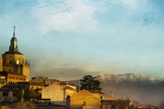 View of Segovia and mountains Royalty Free Stock Images
