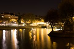 View of Seine and Louis Philippe bridge, Paris, France Stock Images