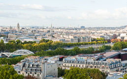 View of Seine River. Panoramic view of Paris from the top of Eiffel Tower Stock Photo