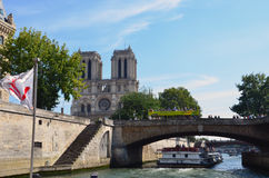 View of the Seine River with cruise tour boats. In Paris Royalty Free Stock Photos