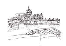 View from Seine river France illustration Royalty Free Stock Photography