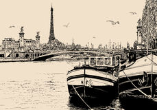 View of seine river in Paris with barges and eiffel tower Royalty Free Stock Images