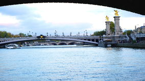 View of Seine River in Paris stock footage