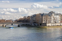 Seine river and Pont Louis-Philippe in Paris Stock Photo