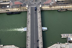 VIEW OF SEINE FROM THE TOP OF EIFFEL TOWER. Stock Photography