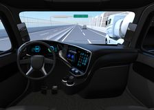 View from self-driving truck interior on highway. 3D rendering image vector illustration