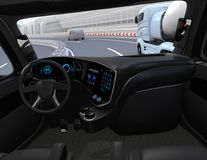 View from self-driving truck interior on highway Vector Illustration