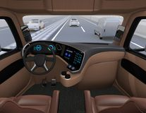 View from self-driving truck interior on highway Royalty Free Illustration