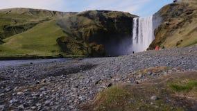 View of Seljalandsfoss watfall in Iceland.  stock video