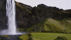 View of Seljalandsfoss watfall in Iceland stock footage