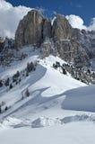View of Sella Group, Alta Badia - Dolomites. Winter view of Sella Group, Dolomites - Italy stock photo
