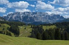 View of Sella Group, Alta Badia - Dolomites. Majestic summer view of Sella Group, Dolomites - Italy stock photo