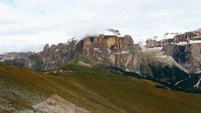 View of Sella group mountains from Col Rodella Dolomites Italy stock video