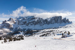 View of the Sella Group with snow in the Italian Dolomites from the ski area Stock Image