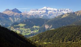 View of Sella gruppe, Alps Dolomities mountains Royalty Free Stock Photography