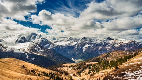 View from the Sella Pass in the Dolomites stock video footage