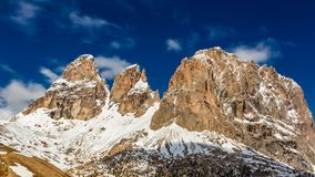 View of the Sella Pass in the Dolomites on a sunny day stock video footage