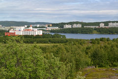 View of the Semenovsky lake inhabited residential district of the city of Murmansk Stock Images