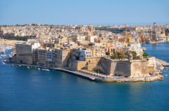 The view of Senglea (L-isla) peninsula  from the bordering terra. The view of Grand Harbour and Senglea (L-isla) peninsula  with  Fort Saint Michael on the tip Royalty Free Stock Photo