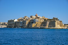 The view of Senglea L-isla peninsula from the waterfront of Va Royalty Free Stock Images
