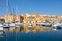 The view of Senglea peninsula over the Dockyard creek. Malta. Stock Images