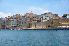 The view of Senglea residential houses from the water of Dahla t Stock Photo