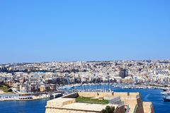 View of Senglea and Vittoriosa from Valletta. View towards Senglea and Vittoriosa seen from Valletta, Valletta, Malta, Europe Stock Photo